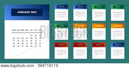 Calendar 2021 Template Planner Vector New Year Calender In Clean Minimal Table Simple Style. Holiday