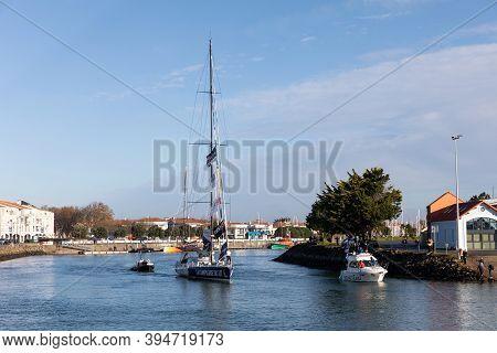 Les Sables D'olonne, France - November 08, 2020: Clement Giraud Boat (compagnie Du Lit - Jiliti) In