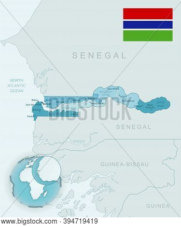 Blue-green Detailed Map Of Gambia Administrative Divisions With Country Flag And Location On The Glo