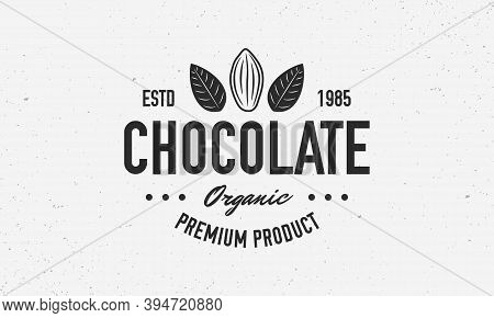 Cocoa Beans, Chocolate, Cacao Logo, Poster. Chocolate Trendy Logo With Cocoa Bean And Leaves. Vector