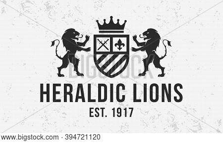 Royal Vintage Logo. Heraldic Crest  Template Logo With Standing Lions . Modern Design Poster. Label,
