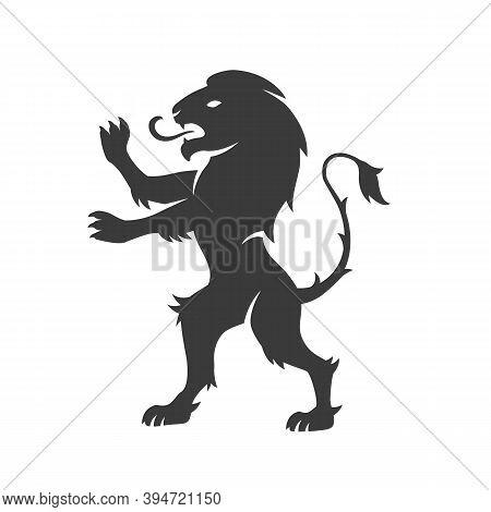 Heraldic Lion. Lion Silhouette For Coat Of Arms. Heraldic Crest Logo. Vector Illustration
