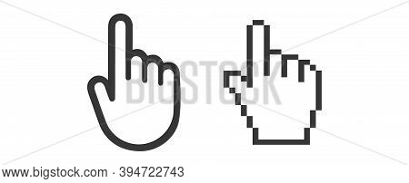 Hand Mouse Cursor Icon. Pointer Hand Cursor Icons, Pixelated Hand Cursor Vector Symbol Isolated On W