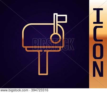 Gold Line Mail Box Icon Isolated On Black Background. Mailbox Icon. Mail Postbox On Pole With Flag.