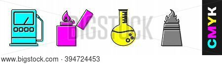 Set Petrol Or Gas Station, Lighter, Oil Petrol Test Tube And Oil Rig With Fire Icon. Vector