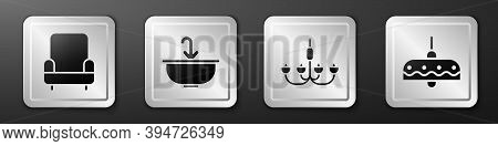 Set Armchair, Washbasin With Water Tap, Chandelier And Chandelier Icon. Silver Square Button. Vector