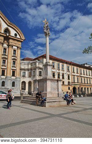 Ljubljana, Slovenia - 30 Apr 2018: The Monument On Congress Square, Kongresni Trg In Ljubljana, Slov