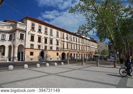 Ljubljana, Slovenia - 30 Apr 2018: The University On Congress Square, Kongresni Trg In Ljubljana, Sl
