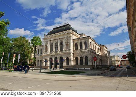 Ljubljana, Slovenia - 30 Apr 2018: National Gallery, Narodna Galerija In Ljubljana, Slovenia