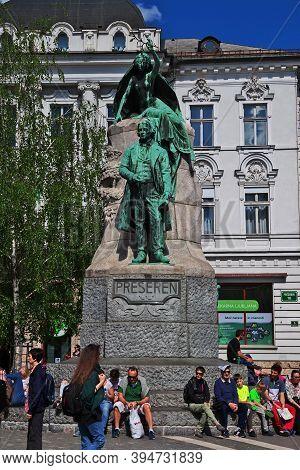 Ljubljana, Slovenia - 30 Apr 2018: The Statue Of Preseren, Ljubljana, Slovenia