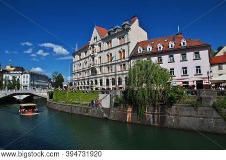 Ljubljana, Slovenia - 30 Apr 2018: The Vintage House On River Front Of Ljubljanica River, Ljubljana,
