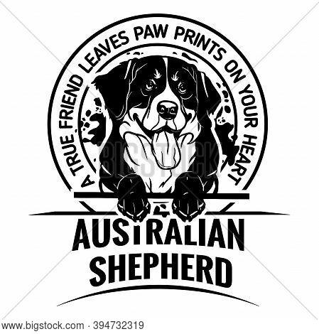 Australian Shepherd Dog - Dog Happy Face Paw Puppy Pup Pet Clip Art K-9 Cop Police Logo Svg Png Clip