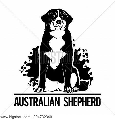 Australian Shepherd - Dog Happy Face Paw Puppy Pup Pet Clip Art K-9 Cop Police Logo Svg Png Clipart