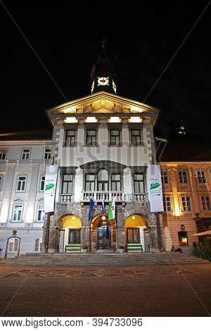 Ljubljana, Slovenia - 29 Apr 2018: Old Square, Stari Trg In Ljubljana At Night, Slovenia