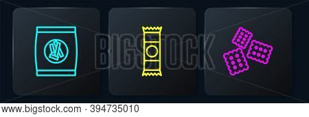 Set Line Hard Bread Chucks Crackers, Cracker Biscuit And Chocolate Bar. Black Square Button. Vector