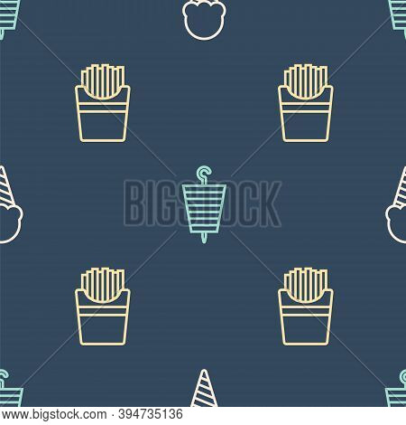 Set Line Ice Cream In Waffle Cone, Potatoes French Fries Box And Grilled Shish Kebab On Seamless Pat