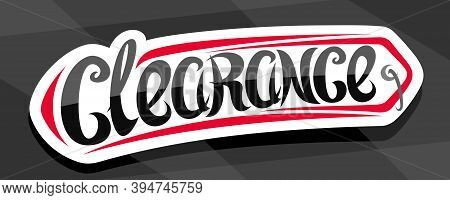Vector Banner For Clearance Sale, Decorative Cut Paper Ad Pricetag For Black Friday Or Cyber Monday