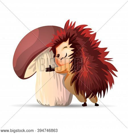 Vector Hedgehog.cute Hedgehog Hugs A Big White Mushroom. Hedgehogs Vector Illustration. Cartoon Char