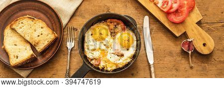 The Concept Of Simple Healthy Eating, Panoramic Banner With A Rural Breakfast - Fried Eggs In A Fryi