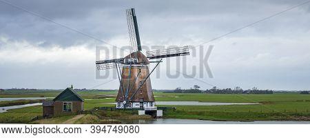 Windmill Het Noorden At Waddenisland Texel, North Holland, Netherlands