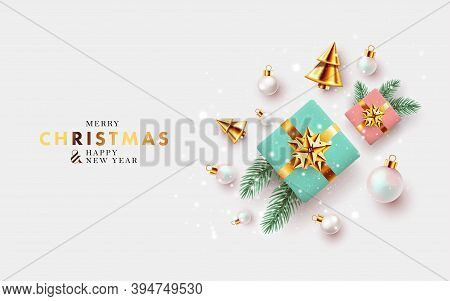 Xmas Modern Design With 3d Realistic Golden Turquoise And Pink Gift, Pine, Golden Conical Christmas