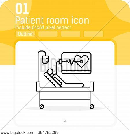 Medical Supervision Vector Icon With Outline Style Isolated On White Background. Vector Illustration