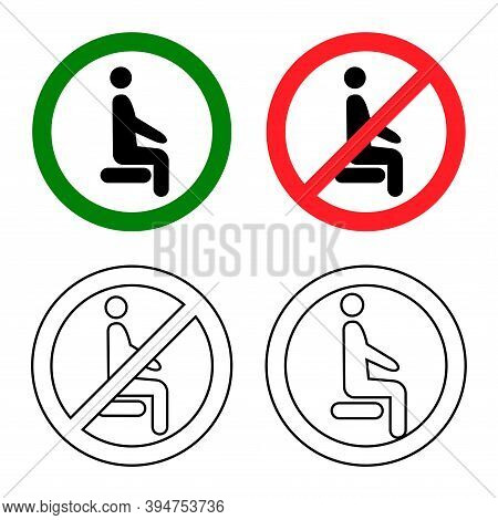 Distancing Sitting. Sit Here, Please. Do Not Sit Here. Forbidden Icon For Seat. Prohibition Sign. Lo
