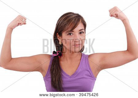 Portrait Of Fit Young Woman Flexing Her Biceps. Isolated On White Background