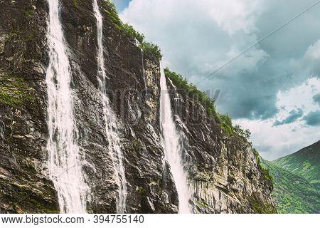Geirangerfjord, Norway. The Seven Sisters Waterfalls In Geirangerfjorden. Famous Norwegian Landmark