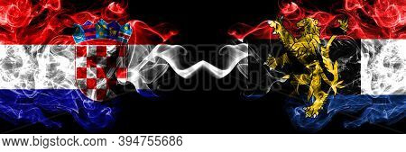 Croatia, Croatian Vs Benelux Smoky Mystic Flags Placed Side By Side. Thick Colored Silky Abstract Sm
