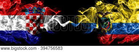Croatia, Croatian Vs Ecuador, Ecuadorian Smoky Mystic Flags Placed Side By Side. Thick Colored Silky