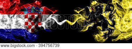 Croatia, Croatian Vs Flanders, Flemish Smoky Mystic Flags Placed Side By Side. Thick Colored Silky A