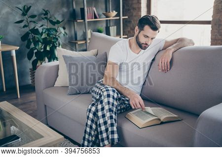 Portrait Of His He Nice Attractive Focused Bearded Guy Sitting On Divan Reading Interesting Paper Bo