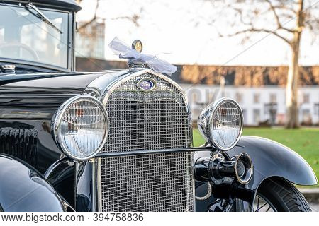 Koblenz Germany 12.12.2019 Front Grill Of Oldtimer Old Antique Ford Typ A Tudor Sedan, Built At Year
