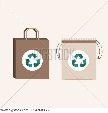 Beige Fabric Cloth Or Paper Bag. Bags With Recycling Eco Symbols. Replacement Plastic Bags. Flat Vec
