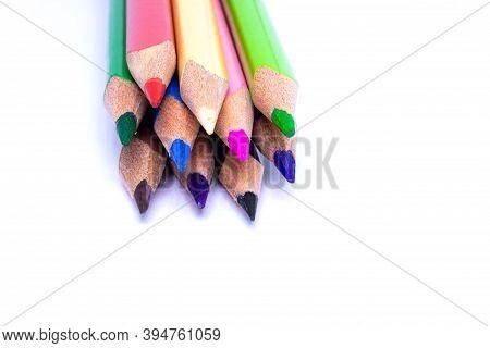 Close Up Macro Shot Of Color Pencil Pile Pencil Nibs, Used Pencils From A School Art Room.