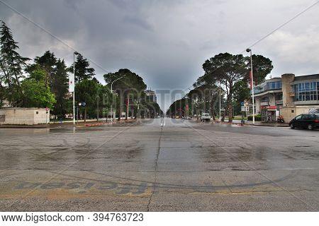Tirana, Albania - 08 May 2018: The Street In Tirana, Albania