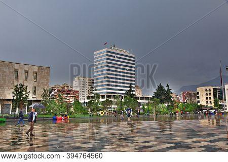 Tirana, Albania - 08 May 2018: Central Square In Tirana, Albania