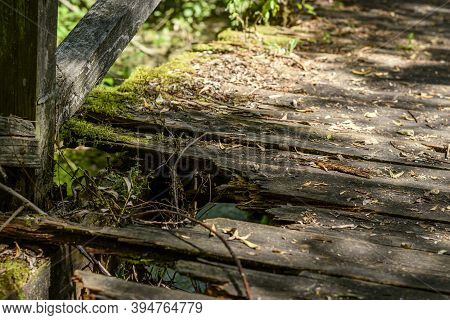 Broken Wooden Footbridge By The Lake High Angle View Close Up