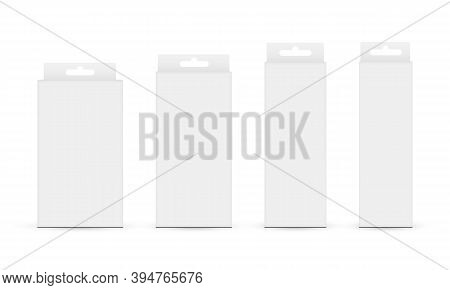 Paper Boxes With Hang Tab Isolated On White Background. Vector Illustration