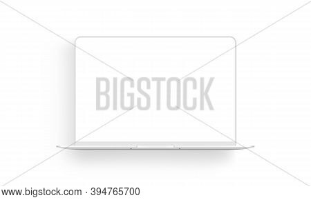 Laptop Computer Clay Mockup With Shadow Isolated On White Background. Vector Illustration