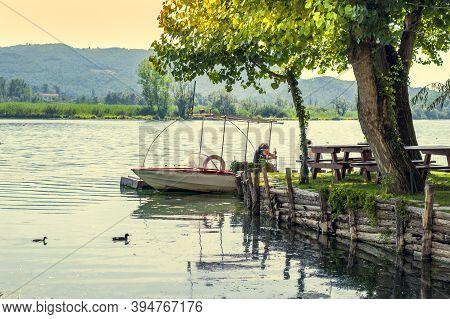 Summer Lakeshore Landscape In Posta Fibreno Nature Reserve In The Italian National Park Of Abruzzo,l