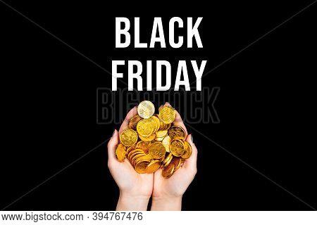 Female Hands Are Holding Golden Dollar Euro Coins. Woman Prepared Money For Shopping. Black Friday C