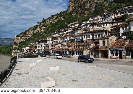 Berat, Albania - 09 May 2018: The View Of The Center Of Berat In Albania