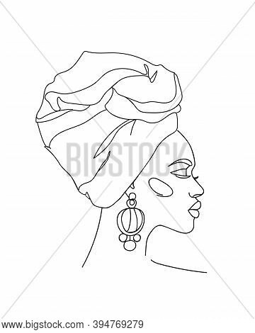 Abstract Portrait Of Young African Woman In Minimalistic Modern Style. Line Drawing. -  Vector Illus
