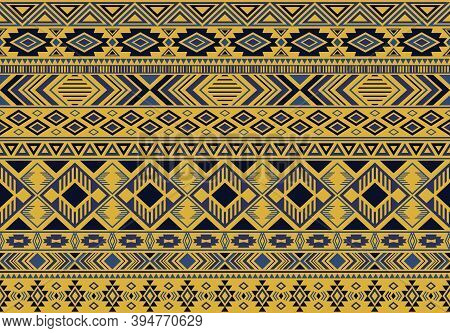 Ikat Pattern Tribal Ethnic Motifs Geometric Seamless Vector Background. Trendy Ikat Tribal Motifs Cl