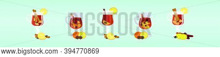 Mulled Wine With Orange Slice. Cartoon Icon Design Template With Various Models. Modern Vector Illus