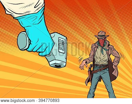 Duel With The Coronavirus. Humorous Concept. Temperature Test. The Cowboy And The Doctor Pop Art Ret