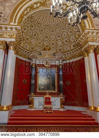 St. Petersburg, Russia, February 2020: State Hermitage Museum, St. George Throne Hall, A Large Red T