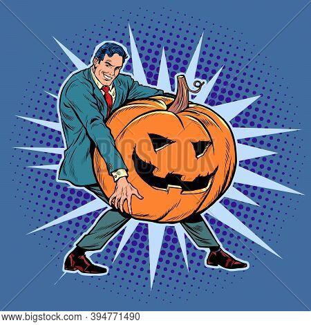 Halloween Pumpkin And Businessman. Pop Art Retro Illustration Kitsch Vintage 50s 60s Style